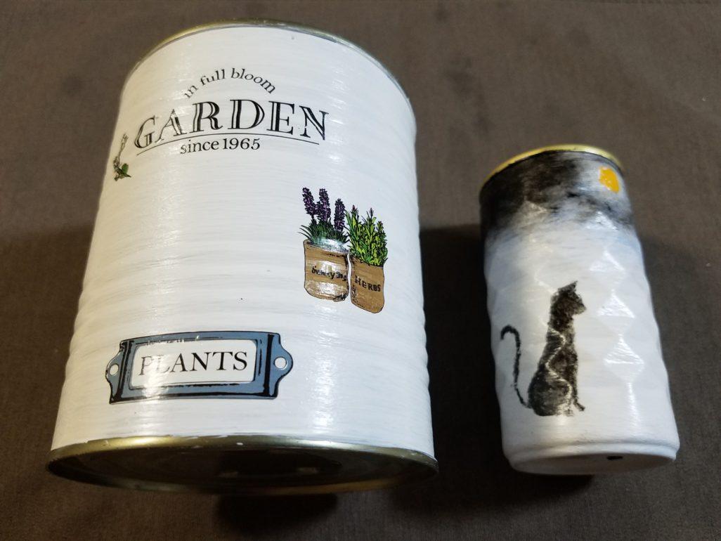 リメ缶 ガーデン,猫